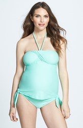 Women's Maternal America Maternity Tankini Top And Bottoms Menthol