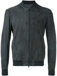 Salvatore Santoro Bomber Jackeat Men Leather 54 Grey