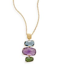 Marco Bicego Murano Amethyst Blue Topaz Green Tourmaline And 18K Yellow Gold Pendant Necklace Gold Multi