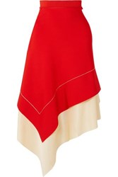 Victoria Beckham Two Tone Asymmetric Stretch Knit Midi Skirt Red