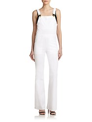 Frame Denim Le High Waist Flare Overalls Blanco