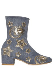 Chiara Ferragni 40Mm Sequin Stars Denim Ankle Boots