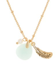 Lonna And Lilly 4Mm Faux Pearl Semi Precious Reconstituted March Birthstone Charm Necklace Blue