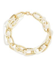 Design Lab Lord And Taylor Mixed Media Interlock Bracelet Gold