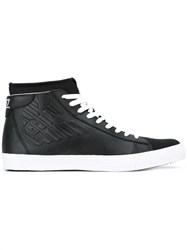Emporio Armani Ea7 Embossed Logo Hi Top Sneakers Black