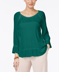 Inc International Concepts Crepe Peasant Top Only At Macy's Indian Teal