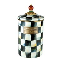 Mackenzie Childs Courtly Check Enamel Canister Tartan Black And White
