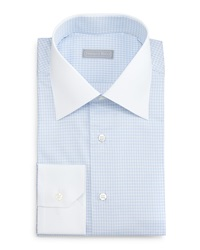 Stefano Ricci Contrast Collar Check Dress Shirt Light Blue