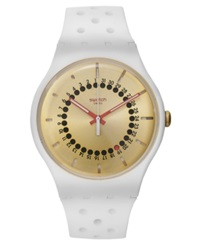 Swatch Unisex Swiss Generation 31 White Perforated Silicone Strap Watch 41Mm Suow400