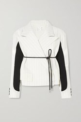 Sacai Belted Paneled Pinstriped Wool Blend And Shell Jacket Off White