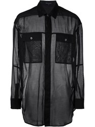 Ann Demeulemeester Chest Pocket Sheer Shirt Black