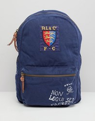 Polo Ralph Lauren Canvas Large Player Logo Backpack In Navy