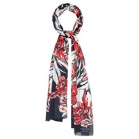Viyella Large Drawn Flower Scarf Navy