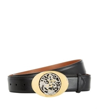 Billionaire Oval Logo Buckle Leather Belt