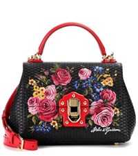 Dolce And Gabbana Lucia Floral Leather Handbag Black