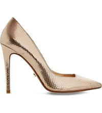 Dune Aiyana Reptile Effect Metallic Courts Rose Gold Reptile