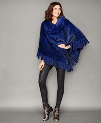 The Fur Vault Knitted Mink Fur Fringe Poncho Royal Blue