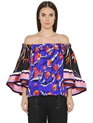 Emilio Pucci Off Shoulders Printed Georgette Top