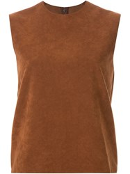 G.V.G.V. Faux Suede Boxy Top Brown