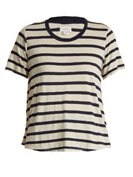 Velvet By Graham And Spencer Tiana Striped Jersey Top Cream Navy