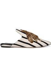 Sanayi313 Embroidered Striped Canvas Slippers White