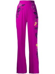 Etro High Waisted Floral Wide Leg Trousers Purple