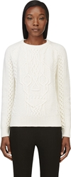 Alexander Mcqueen Ivory Cableknit Skull Sweater