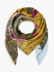 Joules Atmore Location Print Square Cotton Scarf Blue Mix