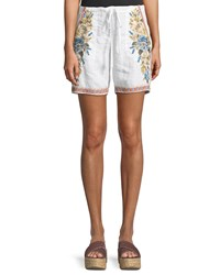 Johnny Was Hira Embroidered Linen Shorts White