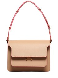 Marni Medium Trunk Saffiano Shoulder Bag Beige Pink