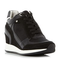 Geox Nydame Zip Side Lace Up Wedge Trainers Black