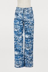 Off White Tapestry Baggy Jeans Blue