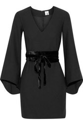 Iris And Ink Clarice Belted Velvet Trimmed Crepe Mini Dress Black