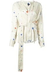 Isabel Marant 'Oliver' Cosmic Print Blouse Nude And Neutrals