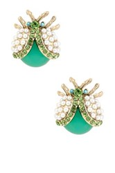 Betsey Johnson Flower Child Pearl Bug Stud Earrings Multi