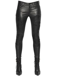Rta Destroyed Effect Stretch Leather Pants