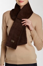 Australia Luxe Collective Cravat Genuine Shearling Trim Scarf Brown