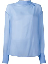 Emilio Pucci Semi Sheer Blouse Blue