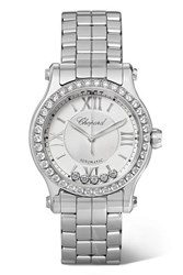 Chopard Happy Sport 30Mm Stainless Steel And Diamond Watch Silver