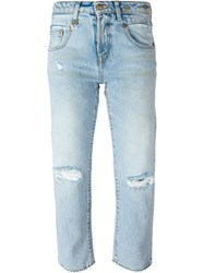 R 13 R13 Distressed Girlfriend Cropped Jeans Blue