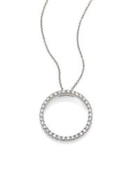Roberto Coin Tiny Treasures Diamond And 18K White Gold Large Circle Pendant Necklace