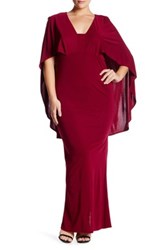 Abs By Allen Schwartz Popover Cape Gown Plus Size Red