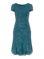 Adrianna Papell Cap Sleeve Beaded Kick Hem Dress Hunting Green