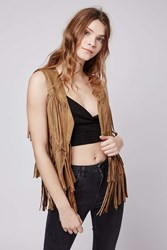 Orla Faux Suede Fringed Gillet Jacket By Goldie Camel