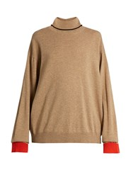 Marni Roll Neck Contrast Cuff Cashmere Sweater Camel