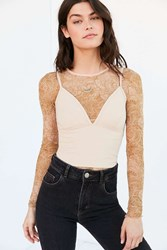 Out From Under Mesh Long Sleeve Top Nude