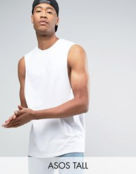 Asos Tall Sleeveless T Shirt With Dropped Armhole In White White