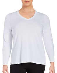 Lord And Taylor Plus Cotton V Neck Tee White