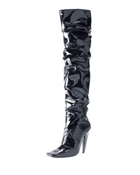 Tom Ford Scrunched Patent 105Mm Boot Black