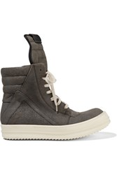 Rick Owens Brushed Leather High Top Sneakers Dark Gray